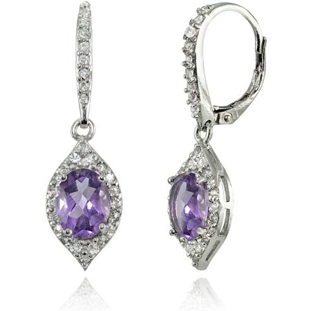 Amethyst and White Topaz Sterling Silver Oval Dangle Leverback - Diamond Oval Dangle