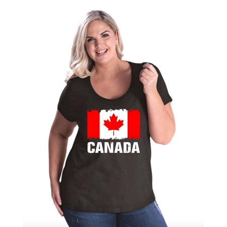 Canada Flag Women Curvy Plus Size Scoopneck Tee