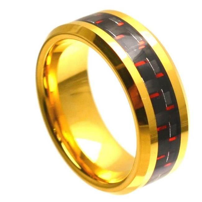 TK Rings 333TR-8mmx6.5 8 mm Yellow Gold Plated High Polish with Red & Black Carbon Fiber Inlay Beveled Edge Tungsten Ring - Size 6.5 - image 1 of 1