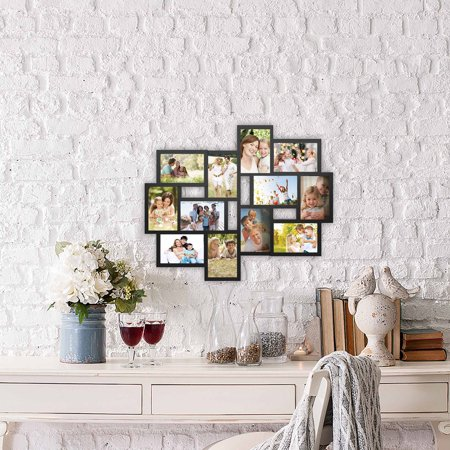 Collage Picture Frame with 12 Openings for 4x6 Photos- Wall Hanging Multiple Photo Frame Display for Personalized Decor by Lavish Home (Black)