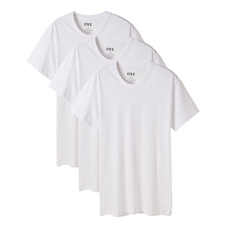 CYZ Men's 3-PK 100% Cotton Crew Neck T-Shirt 3 Pack Cotton V-neck Tee