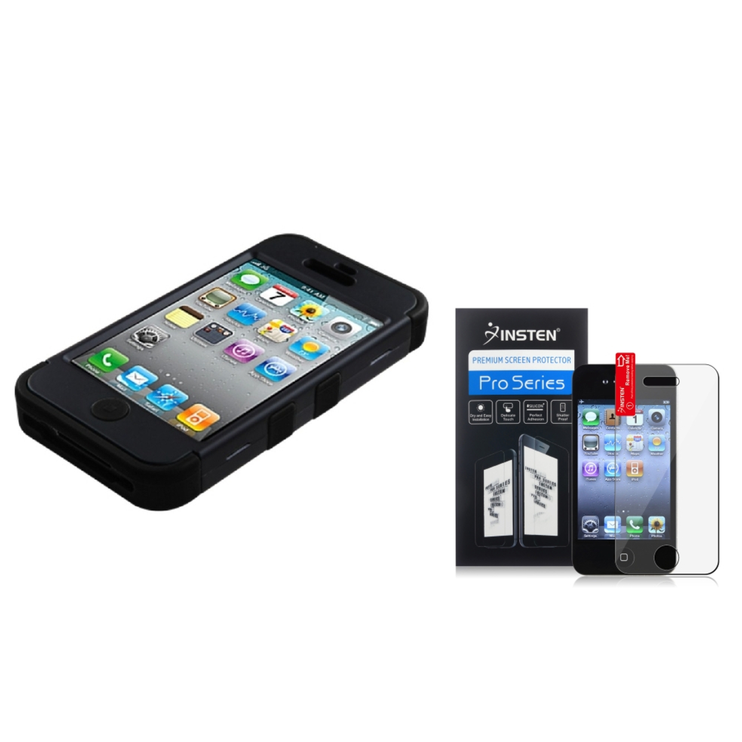 Insten Black TUFF Hybrid Dual Layer Phone Cover Case For Apple iPhone 4 4s+Screen Guard