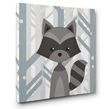Woodland Creatures Raccoon Nursery Decor CANVAS Wall Art