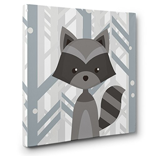 Woodland Creatures Raccoon Nursery Decor CANVAS Wall Art