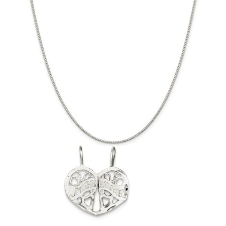 Sterling Silver Mother Daughter 2-Piece Break Apart Charm on a Box Chain Necklace, 18