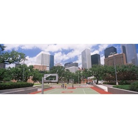 Basketball court with skyscrapers in the background Houston Texas USA Poster
