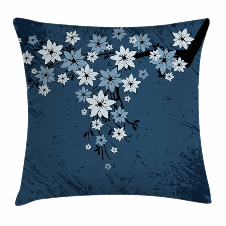 Floral Throw Pillow Cushion Cover, Spring Blooms on Grunge Backdrop Classic Petal Flourishing Season Essence Theme, Decorative Square Accent Pillow Case, 18 X 18 Inches, Night Blue Dust, by Ambesonne