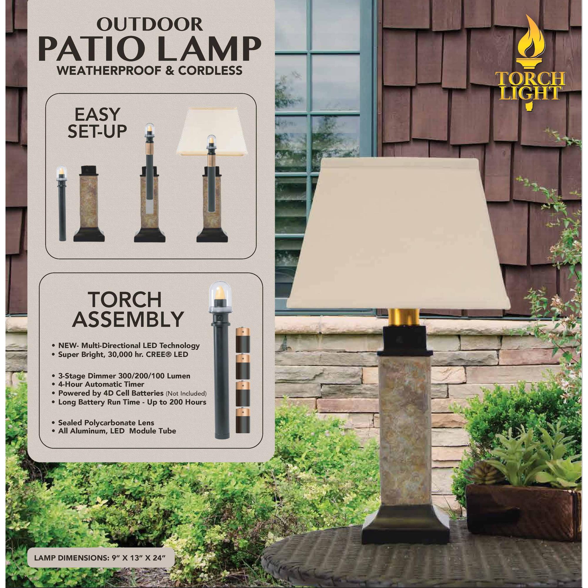 Torch Light St913b Wireless All Weather Table Lamp Natural Slate Walmart Com Walmart Com