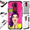 For LG G7 ThinQ | LG G7 Case Hybrid TPU Fusion Phone Cover (WOW Girl) Hybrid Case Information:Brand new 2-layer hard plastic case combined with flexible rubber TPU inner cover.• Hybrid case is a molded perfect-fit to your phone.• Double the protection both front and back hard cover.• Protects your phone against any scratch, bump, finger marks, and dirt.• High quality TPU that is resistant to shock and has a great grip.• Custom cutout design, giving you total access to all functions and buttons without removing your phone from case.• Designed in US with superior quality.Phone NOT included. Compatible For: LG G7 ThinQ | LG G7