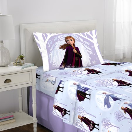 Disney's Frozen 2 Kids Flannel 3-Piece Twin Sheet Set, Frozen Forest (Frozen Bed Twin Set)