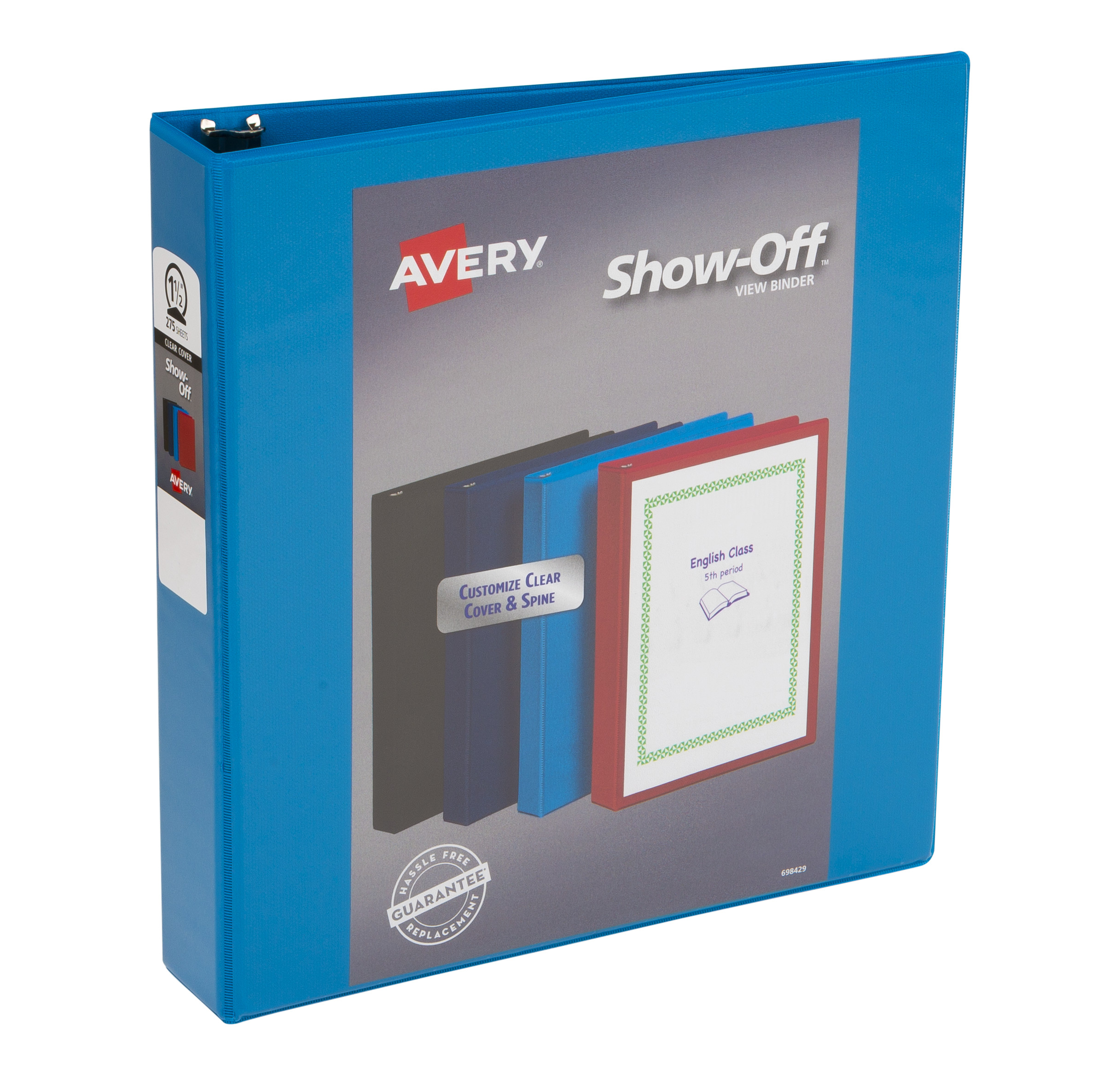 "Avery Show Off View Binders, 1-1/2"" Round Rings, 275-Sheet Capacity, Assorted Colors (12058)"