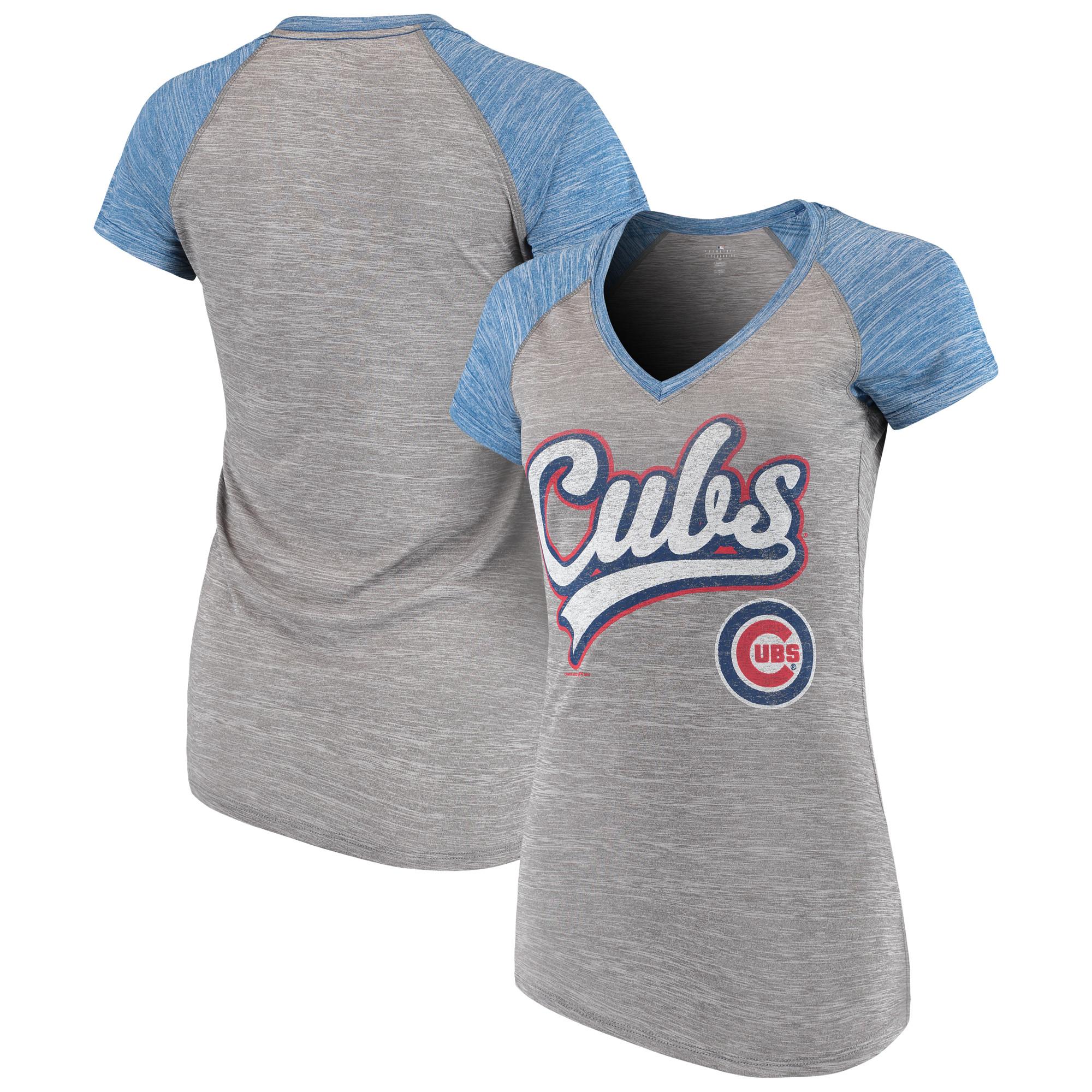 Women's New Era Gray Chicago Cubs Space Dye V-Neck T-Shirt