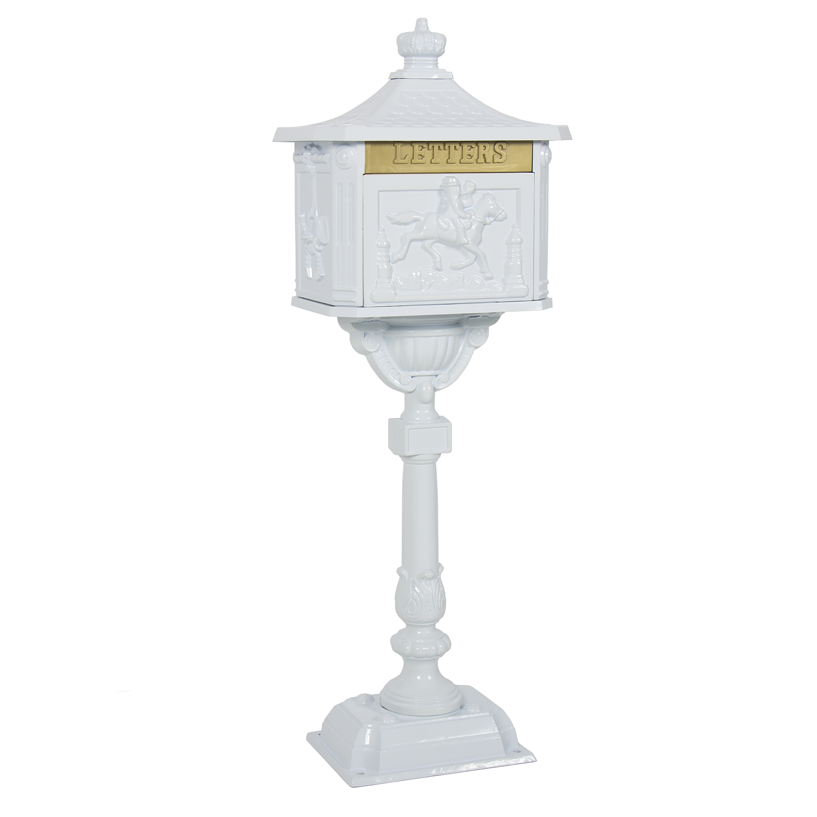 Mailbox Cast Aluminum White Mail Box Postal Box Security Heavy Duty New by SKY