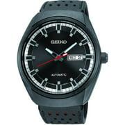 Seiko Men's Stainless Steel Case Leather Strap Black Watch - SNKN45