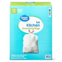 Great Value Tall Kitchen Bags with Drawstrings, 13 gallon, 80 Count