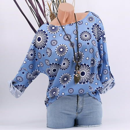 Circle Blouse (T-shirts For Women Summer Casual Circle Floral Printed O-neck Batwing Sleeve Tunic Loose Plus Size Blouses Shirts Tops )