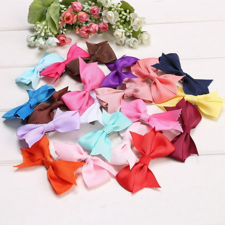20 Colors Hair Clips  Alligator Clips Girls Bow Ribbon Kids Sides Accessories DADEA