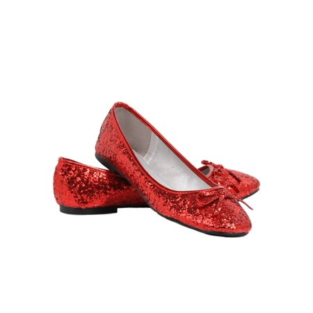 Ellie Shoes E-016-Mila-G Adult Glitter Flat With Bow 10 / Red](Glitter Flats With Bow)