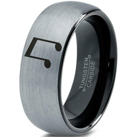 Zealot Jewelry - Tungsten Beam Note Music Band Ring 8mm Men