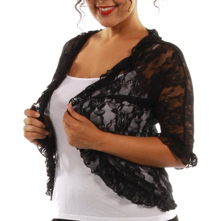 24/7 Comfort Apparel Women's Plus Black Lace Bolero Cardigan Shrug