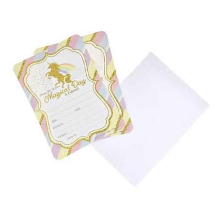 Pastel Unicorn Birthday Baby Shower Invitation Set, 7-Inch, 12-Piece (Birthday Direct Com)