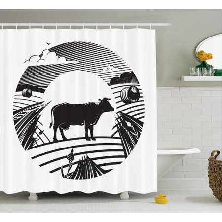 Cattle Shower Curtain Rural Landscape With A Cow Standing On Field Under Cloudy Sky Digital