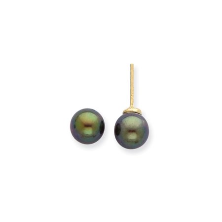 Solid 14k Yellow Gold 7-8mm Round Black Saltwater Akoya Cultured Pearl Stud