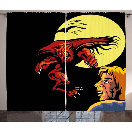 (Cartoon Curtains 2 Panels Set, Comics Super Heros Monsters Werewolf Enemy of Dracula Attacking Moment Art Print, Window Drapes for Living Room Bedroom, 108W X 108L Inches, Multicolor, by Ambesonne)