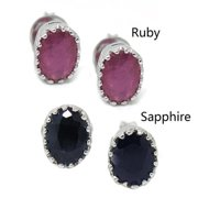 De Buman  Sterling Silver Natural Sapphire or Ruby Stud Earrings