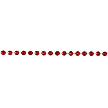 Shiny Metallic Crimson Red Beaded Christmas Garland 15' x - Red Garland