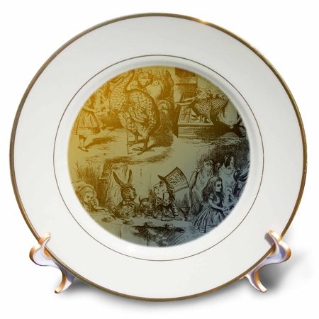 Alice In Wonderland Party Plates And Cups (3dRose Alice in Wonderland Collage Art, Porcelain Plate,)