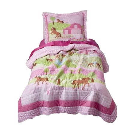 Girls Twin Quilt Amp Sham Set Pretty Horses Farm Scene
