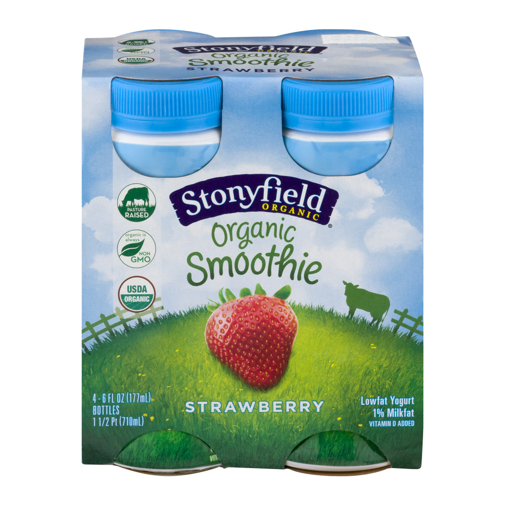 Stonyfield Organic Smoothie Strawberry Lowfat Yogurt Drink, 6 fl oz, 4 ct