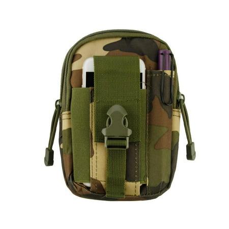Heavy Duty Canvas Sports Activity Waist Pack Pocket Belt for OnePlus 6, OnePlus 5T (Jungle Camo) + MND Mini Stylus