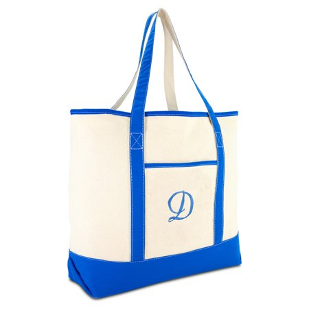 - DALIX Women's Canvas Tote Bag Satchel Shoulder Bags Royal Blue Monogram D