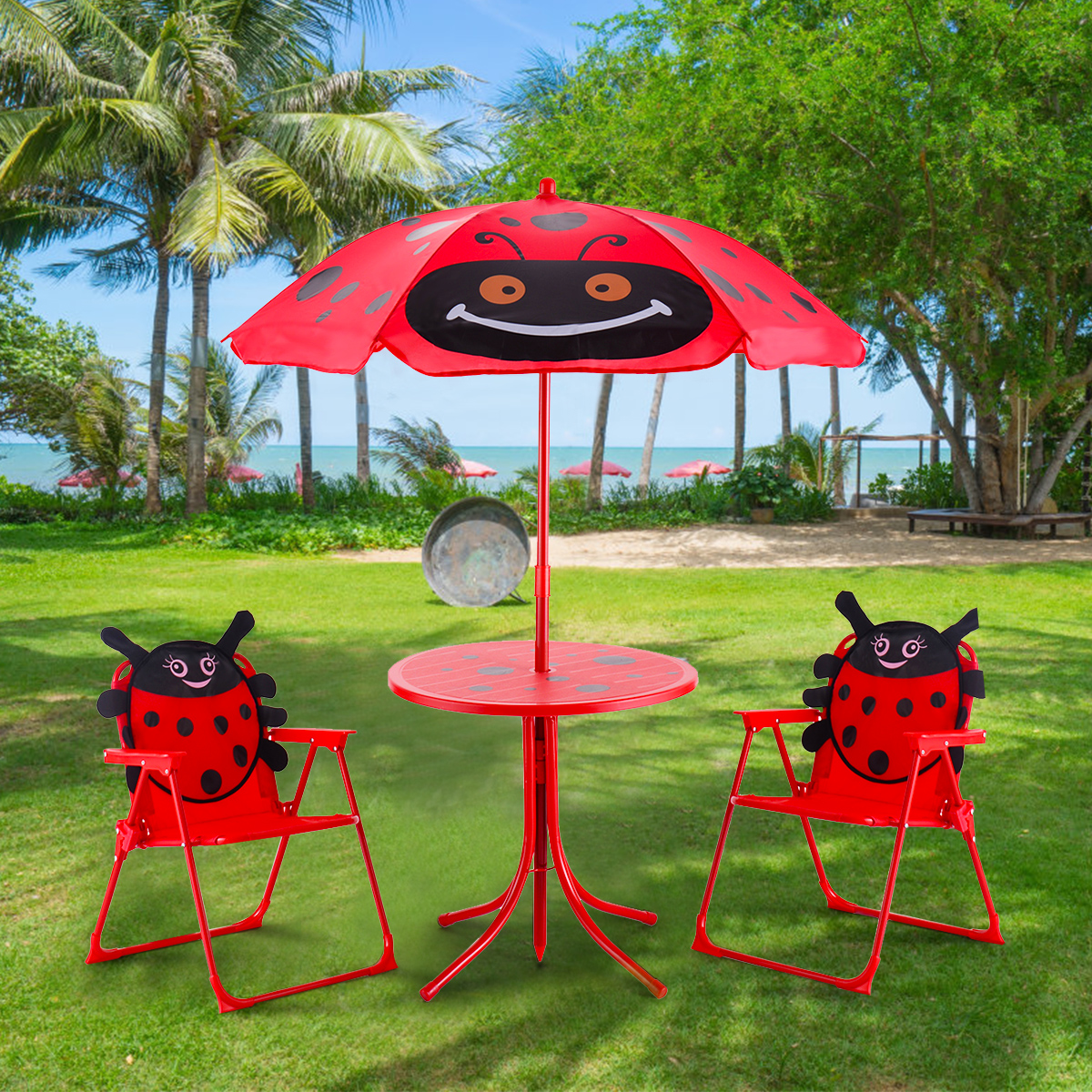 Kids Patio Set Table u0026 2 Folding Chairs w/ Umbrella Beetle Outdoor Garden Yard ... & Kids Patio Set Table u0026 2 Folding Chairs w/ Umbrella Beetle Outdoor ...