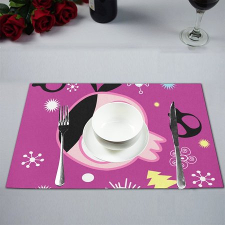 MYPOP Cute Cartoon Skull Table Placemat Food Mat 12x18 Inches Non Slip Table Mat