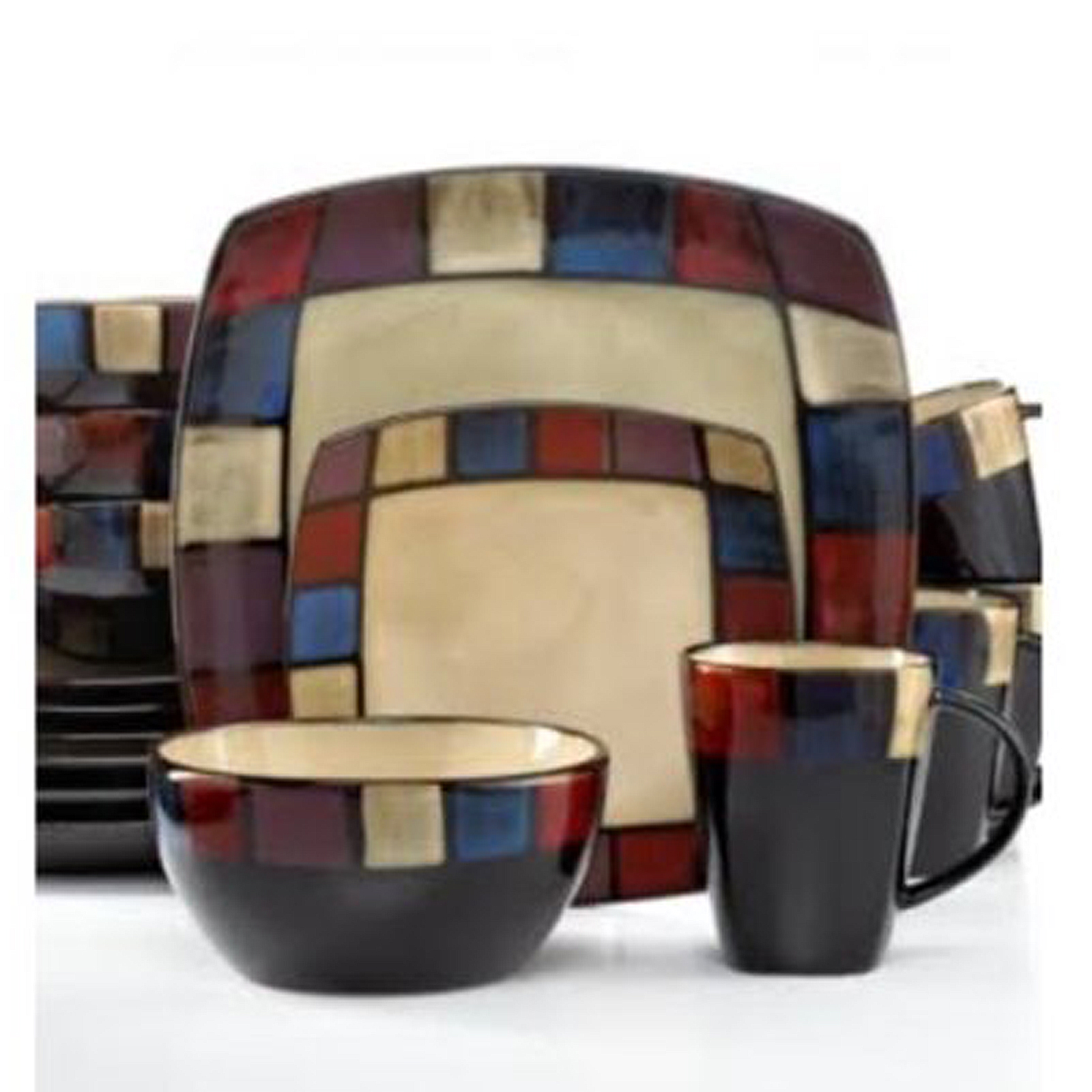 Gibson Soho Lounge 16 Piece Soft Square Reactive Glaze Dinnerware Set in Mosaic