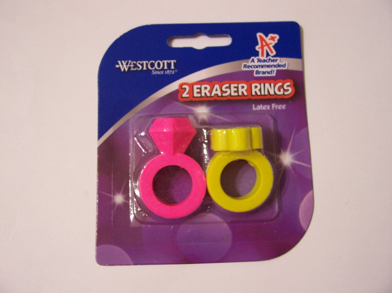 Westcott 2Pack Eraser Rings Blue /& Yellow