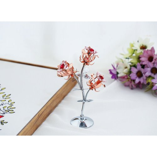 Matashi Chrome Plated Silver Rose Flower Tabletop Ornament Red /& Pink Crystal
