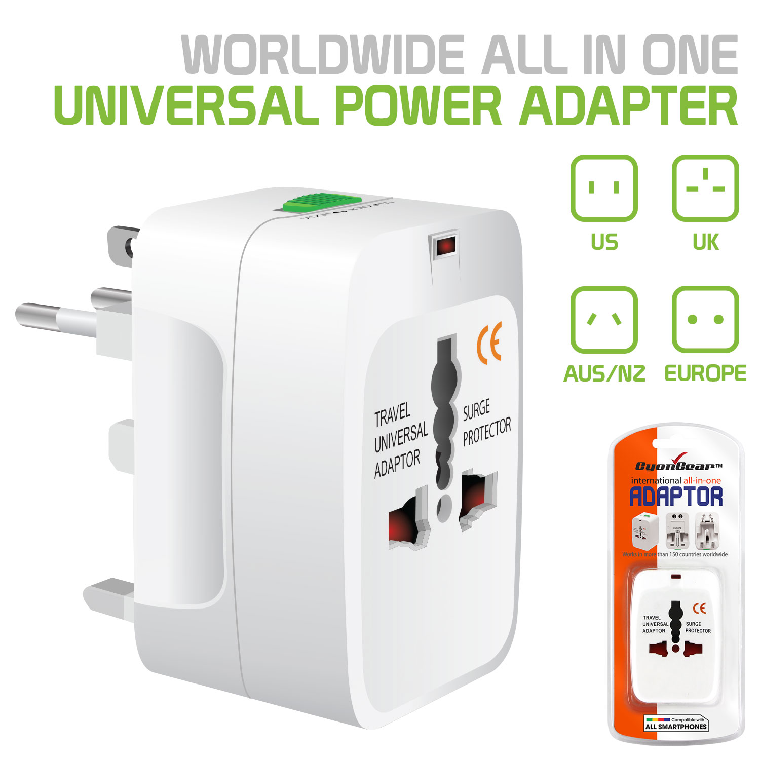 Cellet International Travel Power Adapter, Compact All-in-One Durable Power Adapter with Built-in Surge Protection, Shutter Safety and Power Light Indicator