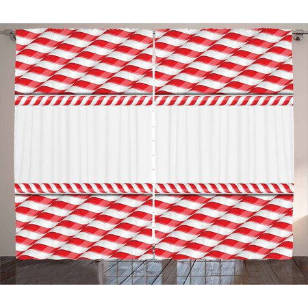 Candy Cane Curtains 2 Panels Set, Horizontal Border Design with ...