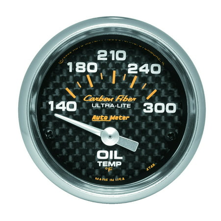 AutoMeter 4748 Carbon Fiber Electric Oil Temperature Gauge; 2-1/16 in.; Carbon Fiber Dial Face; Silver Pointer; White Incandescent Lighting; Electric Air-Core; 140-300 Degree F;