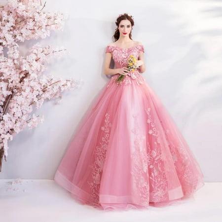Grosse Vente Princesse Robes De Quinceanera Grand Decollete Bateau Robes De Bal Bouffante Rose Appliques Vestido Quinceanera Debutante Super 16 Walmart Canada