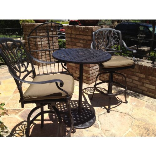 "Elisabeth Cast Aluminum 3pc Outdoor Patio Bar Set with 30"" Round Table"