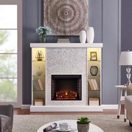 Calfyre Mosaic Tiled Curio Fireplace, Traditional, White