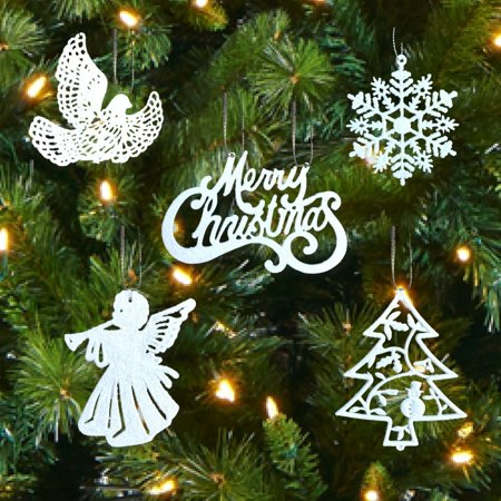 White Christmas Decorations - Set of 39 Sparkling Glittery Christmas Tree Ornaments - Trees, Doves, Angels, Snowflakes, Merry Christmas - Shatterproof Ornaments By Banberry Designs Ship from US