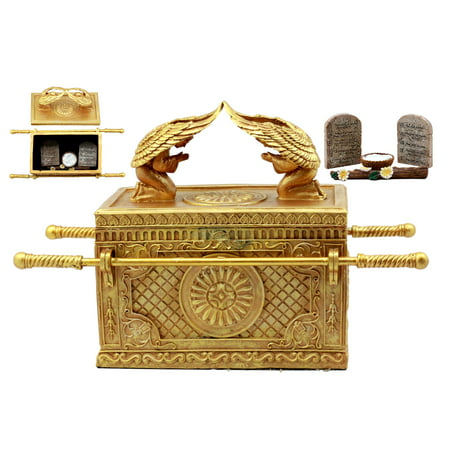 Ebros Golden Ark Of The Covenant With Ten Commandments Rod of Aaron and Manna Religious Decorative Figurine Trinket Jewelry Box 9.5