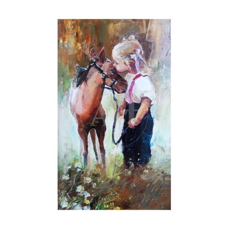 Oil Painting of Little Girl Petting Her Best Friend Pony at Countryside Outdoors Print Wall Art By Maria