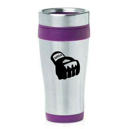 16oz Insulated Stainless Steel Travel Mug MMA Boxing Glove (Purple